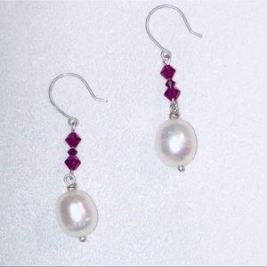 🎁 RED SWAROVSKI Crystal & Ivory Pearl Earrings